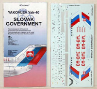BOA Decals 14447 1/144 Decals Yak-40 Slovak Government (AZ)