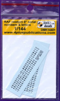 "4+ Publications DMK-14401 1/144 Decals RAF modern 8"" serial numbers&letters"