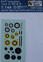 4+ Publications DMK-14404 1/144 Decals RAF roundels Type A, A1&B (2 sets)