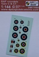 4+ Publications DMK-14405 1/144 Decals RAF roundels Type C&C1 (2 sets)