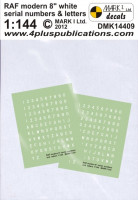 "4+ Publications DMK-14409 1/144 Decals RAF modern 8"" white numbers & letters"