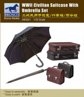 Bronco AB3521 WWII Suitcase with Umbrella Set 1:35