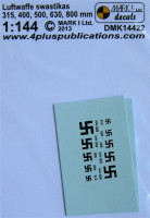 4+ Publications DMK-14422 1/144 Decals Luftwaffe swastikas (2 sets)