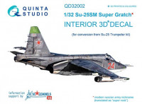 Quinta studio QD32002 Su-25SM 3D-Printed & coloured Interior on decal paper (for Trumpeter kit) 1/32