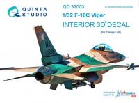 Quinta studio QD32003 F-16C 3D-Printed & coloured Interior on decal paper (for Tamiya kit) 1/32