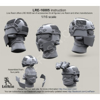 LiveResin LRE16005 1:16 Crye Airframe helmet and choops without cover with head, 1/16 scale