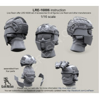 LiveResin LRE16006 1:16 Crye Airframe helmet with cover and choops with head, 1/16 scale