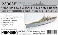 Pontos model 23003F1 USS BB-63 Missouri 1945 Detail up set (20B Deck Blue deck) 1/200