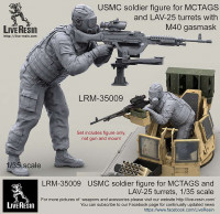 LiveResin LRM35009 1:35 USMC soldier figure for MCTAGS and LAV-25 turrets with realistic M40 gasmask