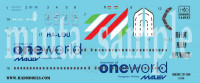 HAD 144033 1/144 Decal Boeing 737/800 One World MALEV