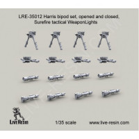 LiveResin LRE35012 1:35 Harris bipod set, opened and folded, Surefire tactical WeaponLights