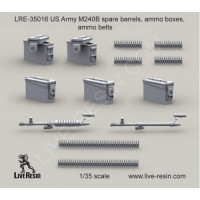 LiveResin LRE35016 1:35 M240B spare barrels, ammo boxes, ammo belts
