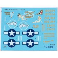 "Foxbot 72-023 North American B-25C/D Mitchell ""Pin-Up Nose Art and Stencils"" Part # 1 1/72"