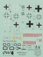 OWL Decals OWLD44003 1/144 He 219 A-2/A-019 (decals)