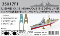 Pontos model 35017F1 USS CA-35 Indianapolis 1945 Detail up set for Academy 1/350