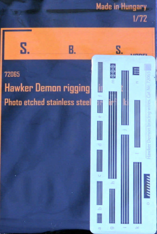 Sbs Model 72065 Hawker Demon rigging wire PE set (AIRFIX) 1:72